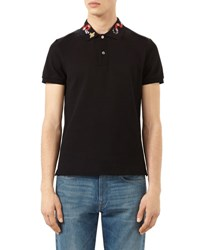 Gucci Snake And Bee Embroidered Collar Polo Shirt Black