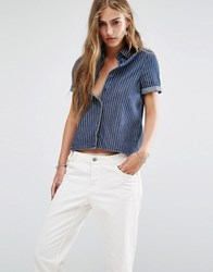 Noisy May Pinstripe Denim Shirt With Slit Back Dark Blue