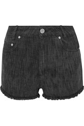 Sandro Please Frayed Denim Shorts Blue