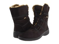 Ara Magaly Gore Tex Black Synthetic Suede W Beige Fur Trim Women's Lace Up Boots Brown