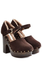 Lautre Chose Shearling Lined Suede Platform Sandals Gr. It 40