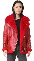 Acne Studios Velocite Shearling Moto Jacket Red