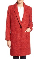 Women's Zac Zac Posen 'Giselle' One Button Reefer Coat Cosmic Crimson