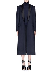 Dries Van Noten 'Rianka Long' Satin Shawl Collar Wool Coat Blue