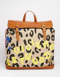 Vivienne Westwood Anglomania Backpack In Leopard Print With Leather Trim Blue Yellow Red Multi