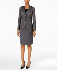 Le Suit Mini Houndstooth Three Button Skirt Storm Black