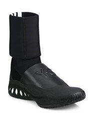 Y 3 Bball Cage Leather Mid Calf Boots Black White