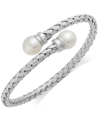 Macy's Cultured Freshwater Pearl Bypass Bangle Bracelet In Sterling Silver 10Mm