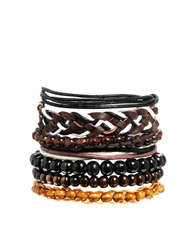 Asos Leather Plait And Bead Bracelet Pack Brown