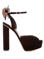 Sophia Webster Raye Embellished Bow Suede Platform Sandals Black Gold