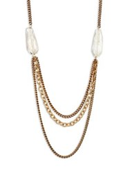 Taylor And Tessier Talon Clear Quartz Multi Layer Chain Necklace Gold