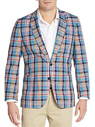Paul Smith Regular Fit Madras Plaid Cotton Sportcoat Multi