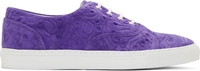Comme Des Garcons Purple Suede Embossed Floral Sneakers