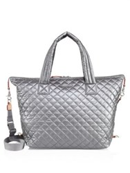 M Z Wallace Large Sutton Quilted Metallic Nylon Duffle Bag Grey