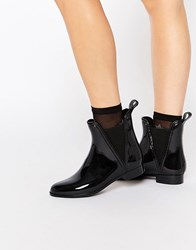 Glamorous Black Chelsea Wellington Boots Black