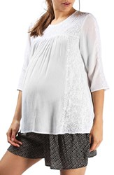 Topshop Women's Embroidered Maternity Peasant Top White