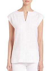Lafayette 148 New York Joanie Embroidered Linen Blouse White