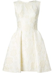 Ermanno Scervino Floral Brocade Pleated Dress Yellow And Orange