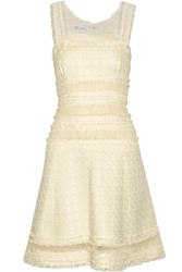 Oscar De La Renta Crochet Trimmed Cotton Blend Boucle Tweed Dress White