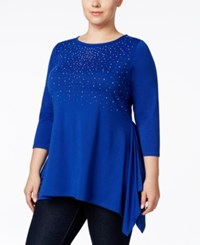 Belldini Plus Size Rhinestone Asymmetrical Hem Top Royal