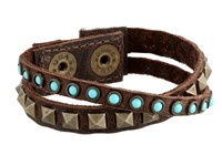 Leather Rock B337 Kodiak Brown Turquoise Bracelet
