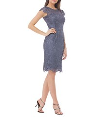 Js Collections Floral Lace Sheath Dress Steel