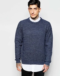 Only And Sons Crew Neck Jumper In Mixed Yarns Navy