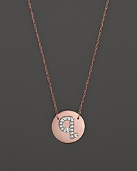 Jane Basch 14K Rose Gold Circle Disc Pendant Necklace With Diamond Initial 16 Q