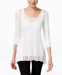 Miraclesuit Perforated Three Quarter Sleeve Top Ivory