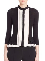Yigal Azrouel Pleated Two Tone Cardigan Jet Multi