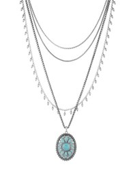 Lucky Brand Turquoise Natives Tribal Layer Pendant Necklace