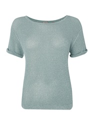 Marella Knitted T Shirt With Sparkle Detail Turquoise