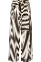 Striped Duchesse Silk Satin Wide Leg Pants Black Cream