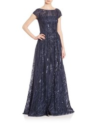 David Meister Short Sleeve Embroidered Sequin Gown Navy