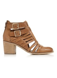 Miss Selfridge August Strap Cut Out Boot Tan