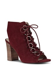 Nine West Bree Peep Toe Suede Ankle Boots Red