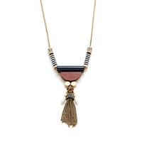J.Crew Wood Tassel Pendant Necklace Bistro Blue