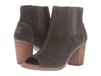 Toms Majorca Peep Toe Bootie Tarmac Olive Suede Perforated Women's Toe Open Shoes