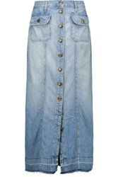 Current Elliott The Sally Denim Maxi Skirt Light Denim