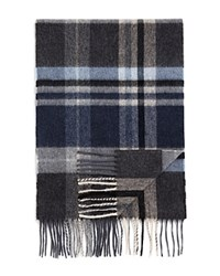 Bloomingdale's The Men's Store At Cashmere Big Plaid Scarf Charcoal Steel Blue Cloud