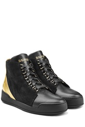 Balmain Suede High Top Sneakers With Metallic Leather Black