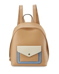 Kc Jagger Parker Colorblock Leather Backpack British Tan Bone French Blue
