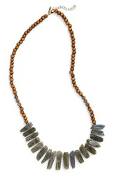 Panacea Women's Stone And Wood Necklace