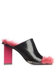 Marques Almeida M And A Letter Heel Fur Insole Mules Black Pink