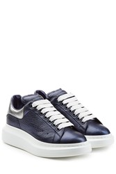 Alexander Mcqueen Metallic Leather Sneakers Blue