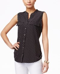 Ny Collection Polka Dot Sleeveless Utility Blouse