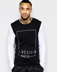 Asos Muscle Long Sleeve T Shirt With Typo Print And Contrast Sleeves Black
