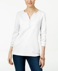 Karen Scott Long Sleeve Henley Top Only At Macy's Bright White