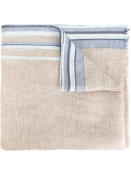 Canali Striped Trim Scarf Nude And Neutrals