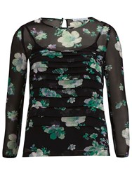 Gina Bacconi Floral Chiffon Pleated Top Black Green